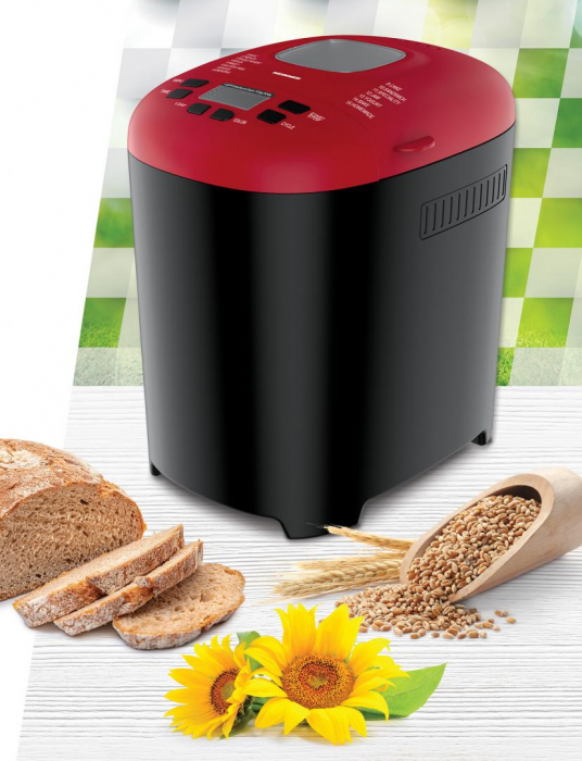 Masina de paine Heinner PastryChef 550 HBM-915BKR, 550W, capacitate 700-900g, 15 programe, Negru/Rosu [1]