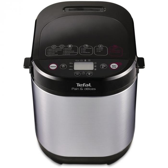 Masina de paine Tefal Pain & Délices PF240, 700 W, 1000 g, 20 programe, Negru/Argintiu 0