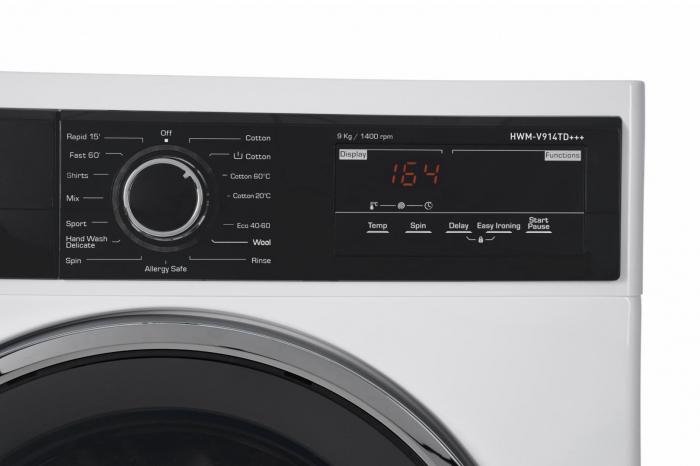 Masina de spalat Heinner HWM-V914TD+++, 9 kg, 1400 RPM, Clasa D, Display LED, Control Touch, Alb 1