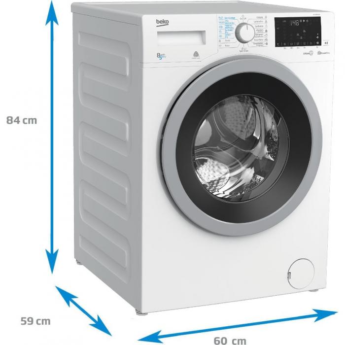 Masina de spalat rufe cu uscator Beko HTV8636XS0, Spalare 8 kg, Uscare 5 kg, 1200 RPM, HomeWhiz,SteamCure, IonGuard, Clasa A, Motor ProSmart Inverter, Wash & Wear, BabyProtect,Downloaded Cycle, Alb 6