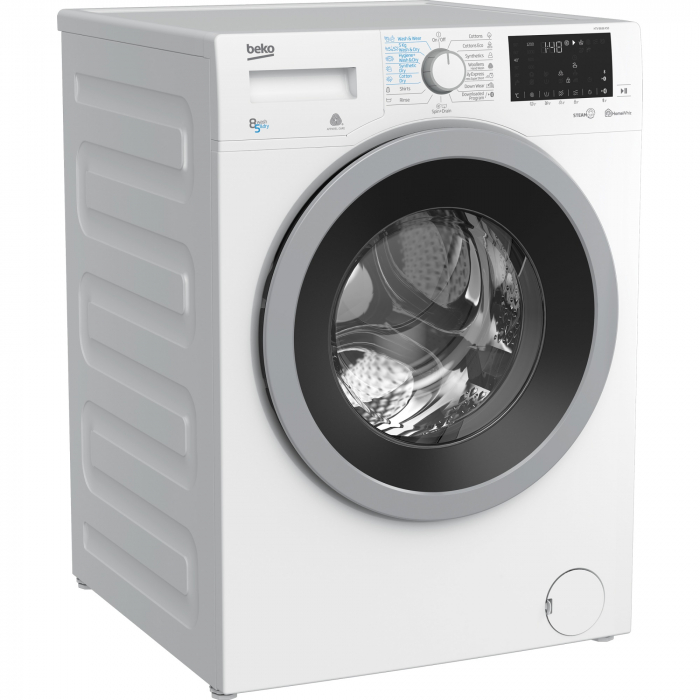 Masina de spalat rufe cu uscator Beko HTV8636XS0, Spalare 8 kg, Uscare 5 kg, 1200 RPM, HomeWhiz,SteamCure, IonGuard, Clasa A, Motor ProSmart Inverter, Wash & Wear, BabyProtect,Downloaded Cycle, Alb 1