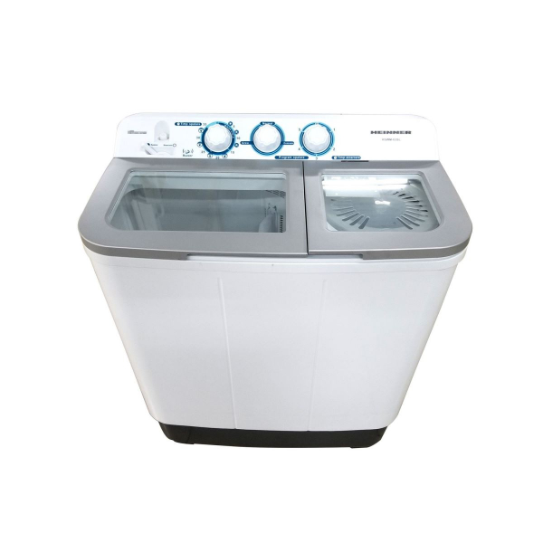 Masina de spalat rufe semiautomata Heinner HSWM-63SL, 6 Kg, 3.6 Kg, Alb/Argintiu 0