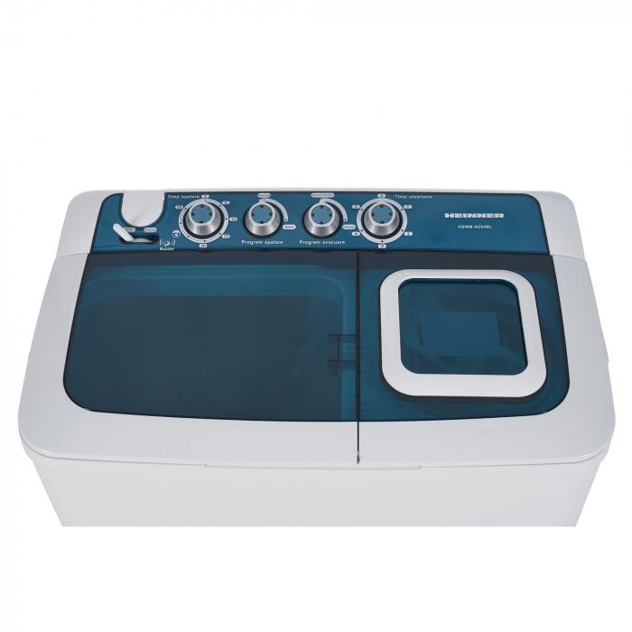 Masina de spalat rufe semiautomata Heinner HSWM-AD84BL, 8 Kg, 4.6 Kg, Alb/Albastru 2