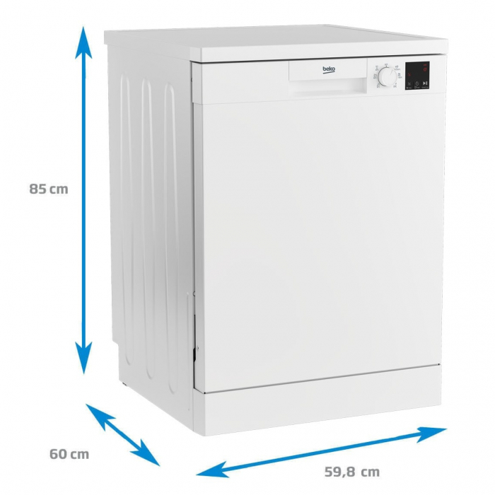 Masina de spalat vase Beko DVN06430W, 14 seturi, 6 programe, Clasa D, Automatic Door Opening, AutoGlassShield, 60 cm, Alb [3]