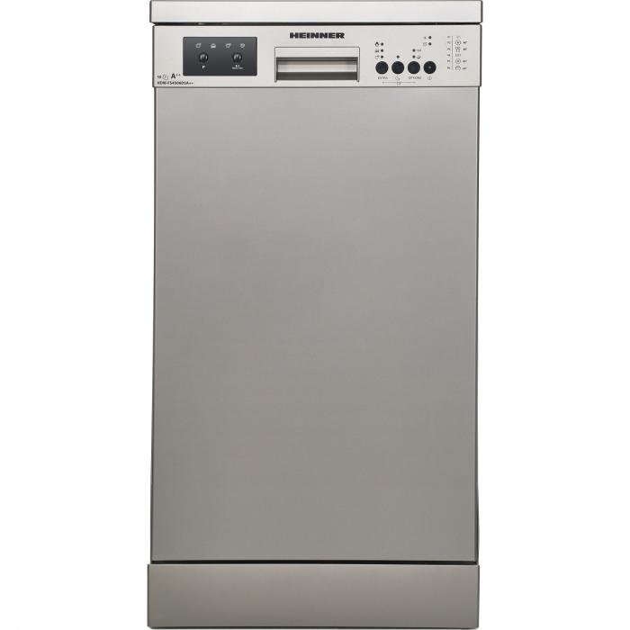 Masina de spalat vase Heinner HDW-FS4506DSA++, 10 seturi, 6 programe, Clasa A++, Control electronic, Display LED, 45 cm, Gri [0]