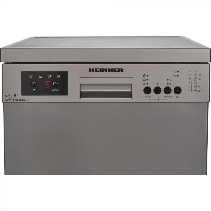 Masina de spalat vase Heinner HDW-FS4506DSA++, 10 seturi, 6 programe, Clasa A++, Control electronic, Display LED, 45 cm, Gri [2]