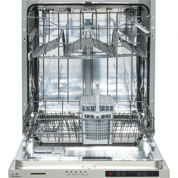 Masina de spalat vase incorporabila Heinner HDW-BI6005A++, 12 seturi, 5 programe, Clasa A++, Control electronic, Display LED, Aquastop, 60 cm 4