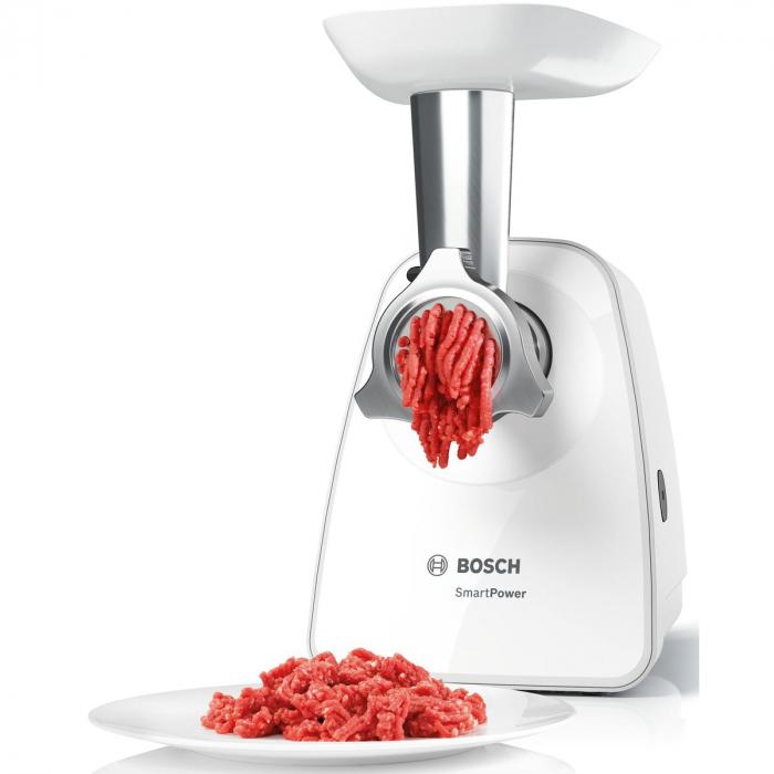 Masina de tocat Bosch MFW2517W, 1.7kg/min, 2 site:3.8/ 8 mm, Storcator rosii, 3 discuri razuire/feliere, Alb 2