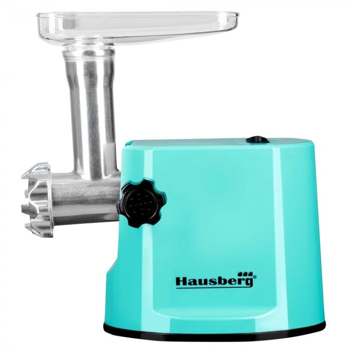 Masina de tocat electrica Hausberg , HB 3415 ,1000 W + Accesoriu carnati , Turcoaz [0]