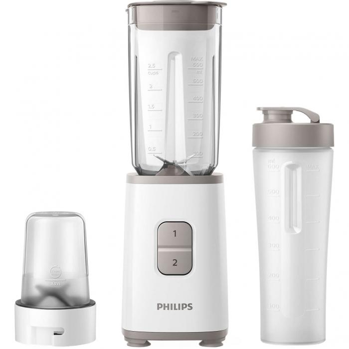 Mini blender Philips HR2603/00, 350 W, 1 L, 2 viteze, recipient on-the-go, multitocator, Alb 0