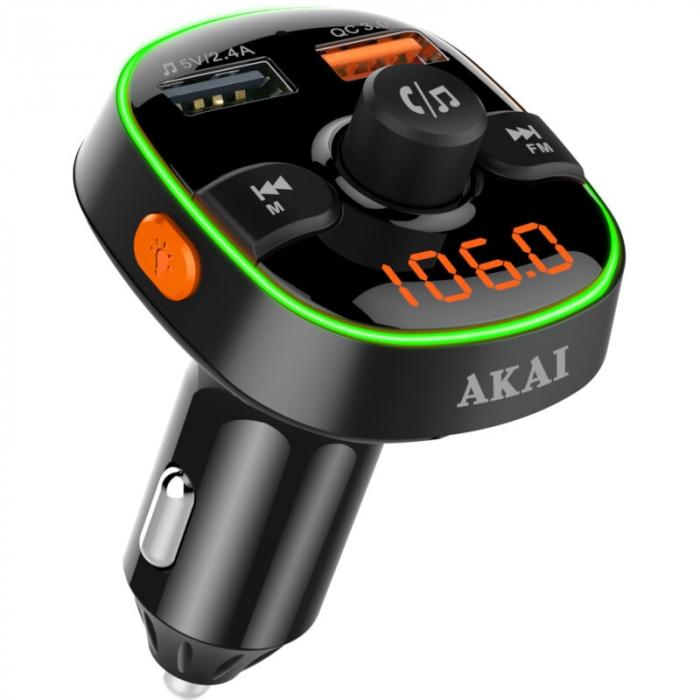 Modulator FM Akai FMT-52BT, Bluetooth, USB, functie incarcator telefon, microfon incorporat, afisaj Led 0