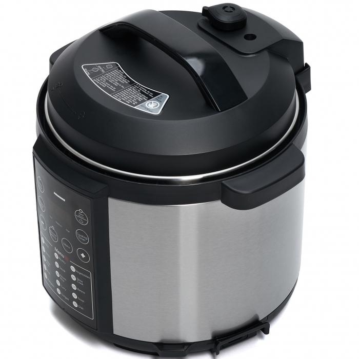 Multicooker cu gatire la presiune Heinner HPCK-6IX, 4.5 L, 15 programe, Vas antiadeziv detasabil, Presiune reglabila, Timer, Display led, Inox 1