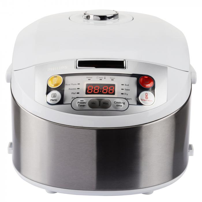 Multicooker Philips HD3037/70, 980 W, 5 L, Programe automate, Timer, Alb/Argintiu [0]
