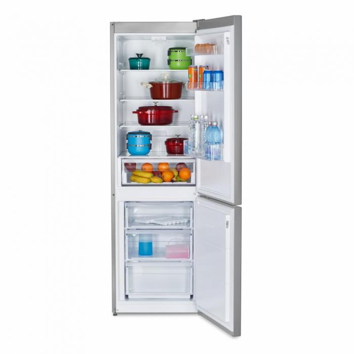Combina frigorifica Heinner HC-V336XE++, 336 l, Clasa E, Tehnologie less frost, Iluminare LED, Control mecanic, Termostat ajustabil, H 186 cm, Argintiu [1]