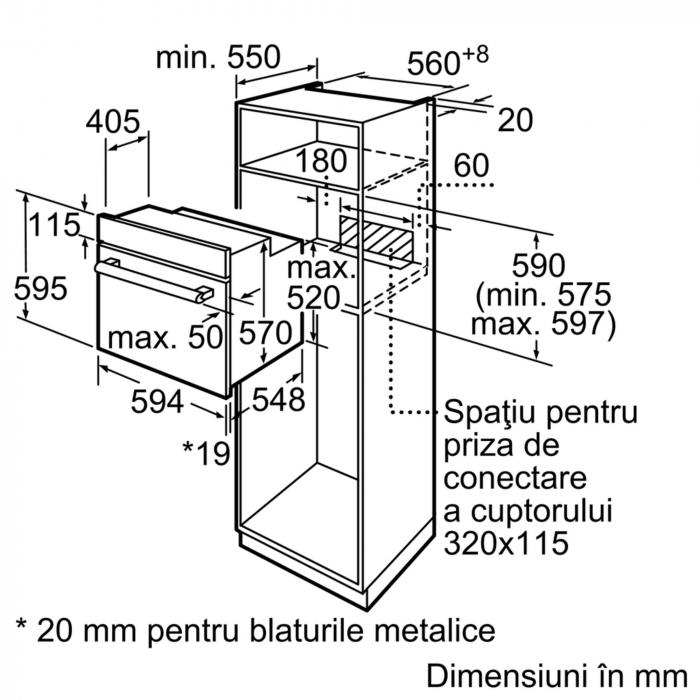 Cuptor incorporabil Bosch HBF153EB0, Electric, Autocuratare EcoClean Direct, 66 l, Clasa A, Negru 4