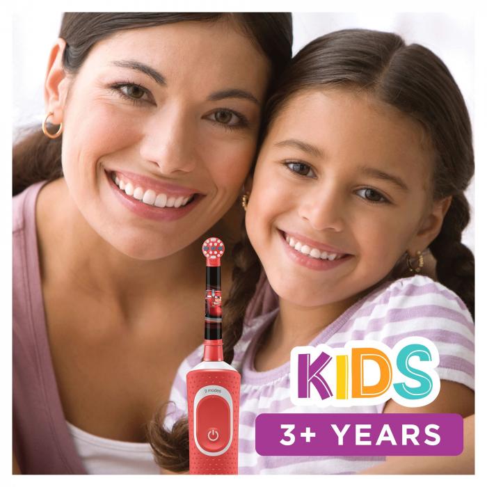 Periuta de dinti electrica Oral-B D100 Vitality Cars pentru copii 7600 oscilatii/min, Curatare 2D, 2 programe, 1 capat, 4 stickere incluse, Rosu/Negru [3]