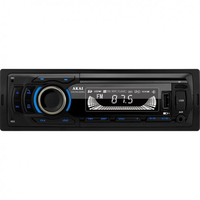 Player auto multi-media AKAI CA016A-9008U cu operare prin aplicatie, Bluetooth, Radio FM, TF card, 1 x USB functie incarcare, 1 x functie redare audio, afisaj LED, conector ISO 0