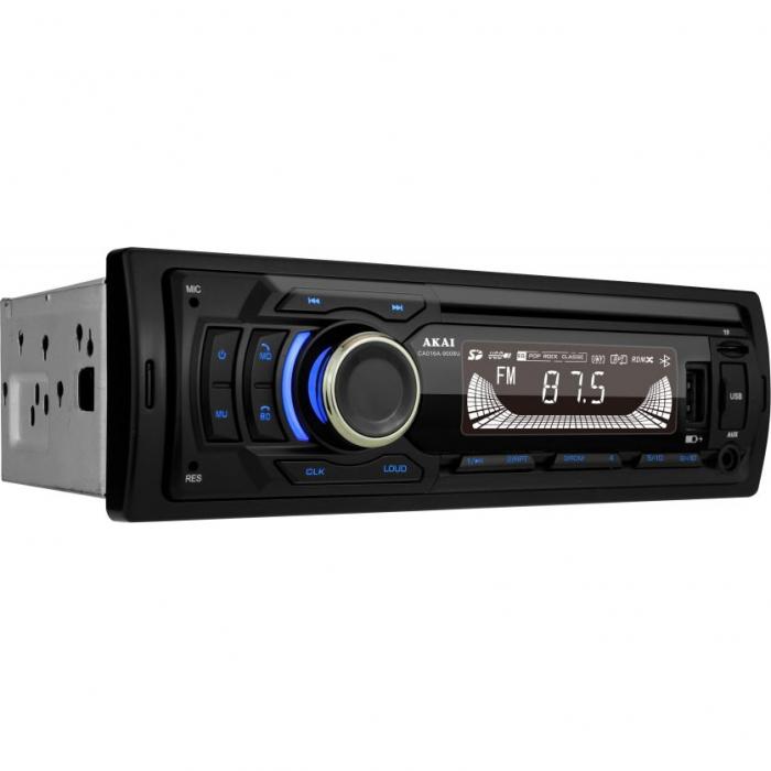 Player auto multi-media AKAI CA016A-9008U cu operare prin aplicatie, Bluetooth, Radio FM, TF card, 1 x USB functie incarcare, 1 x functie redare audio, afisaj LED, conector ISO 1