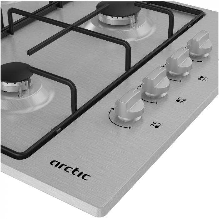 Plita incorporabila Arctic ARGG64123SX, Gaz, 4 arzatoare, Gri 3