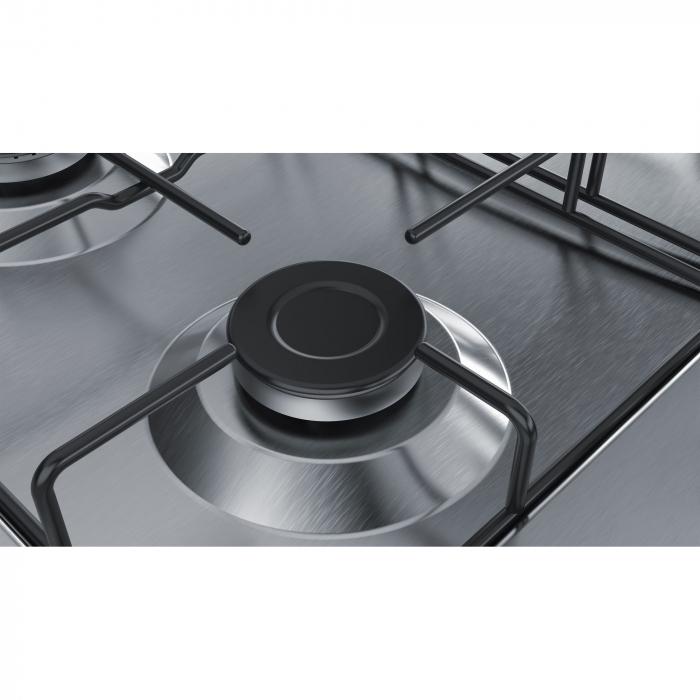 Plita incorporabila Bosch PGH6B5B80, Gaz, 4 arzatoare, Arzator economic, Arzator wok, 60 cm, Inox 1