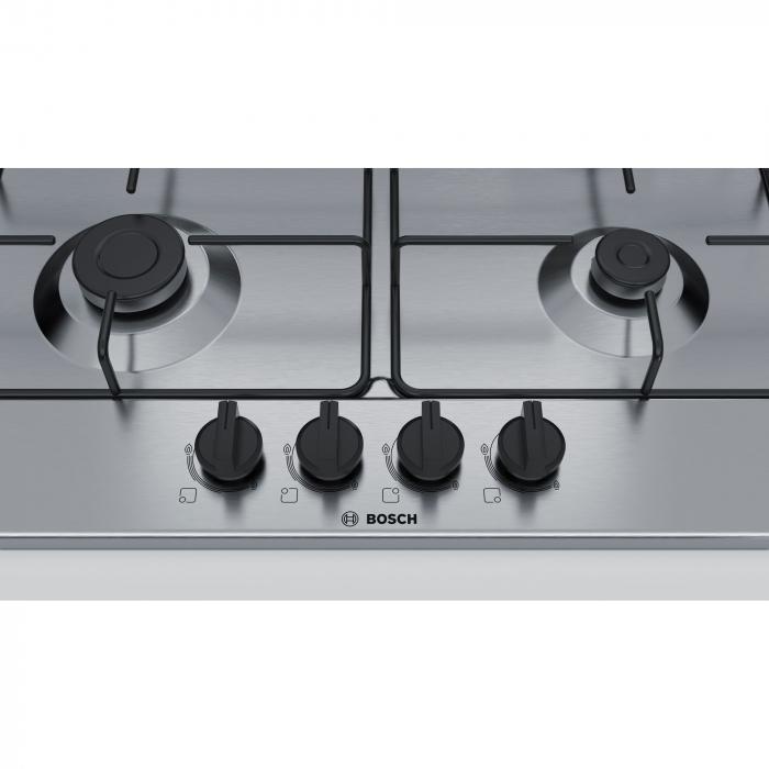 Plita incorporabila Bosch PGH6B5B80, Gaz, 4 arzatoare, Arzator economic, Arzator wok, 60 cm, Inox 2