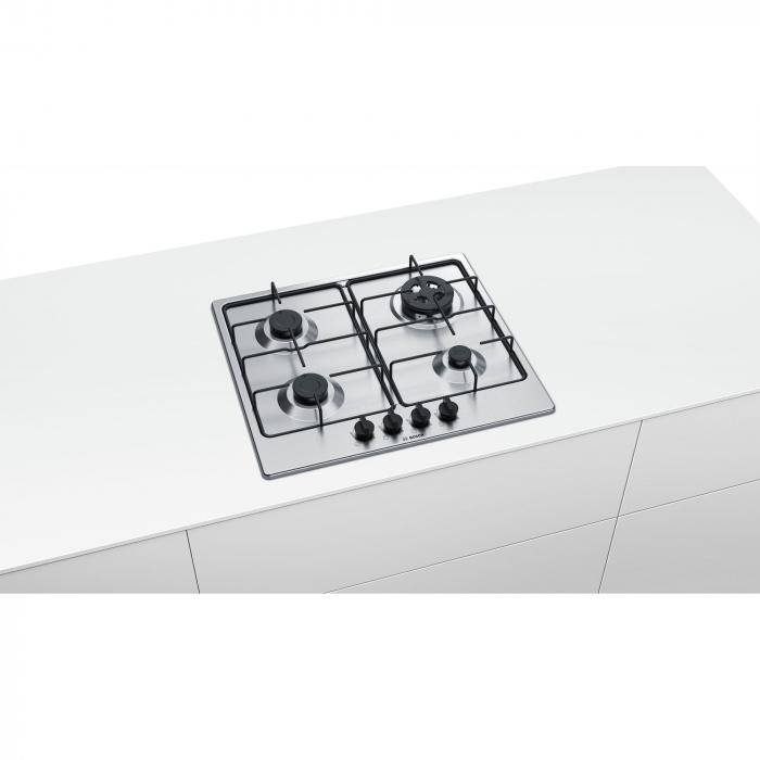 Plita incorporabila Bosch PGH6B5B80, Gaz, 4 arzatoare, Arzator economic, Arzator wok, 60 cm, Inox 3