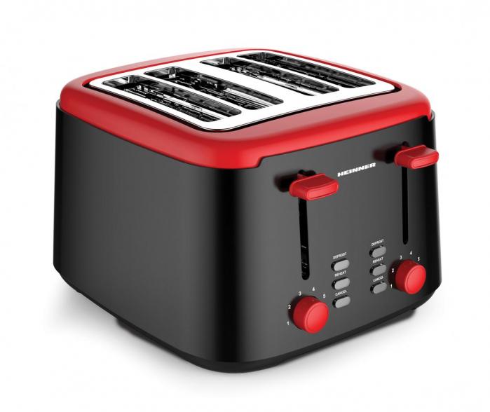 Prajitor de paine Heinner Wassay 1450 HTP-1450BKR, 1450W, capacitate 4 felii, 7 niveluri de rumenire, negru/Rosu [0]