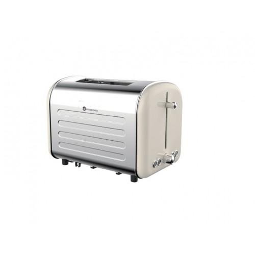 Prajitor de paine Retro 80 Studio Casa, 1000 W, 2 Felii, 7 nivele de rumenire, Functie decongelare, incazire, oprire, Crem /Inox [0]