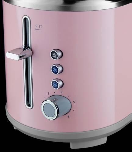 Prajitor de paine Russell Hobbs Bubble Soft Pink 25081-56, 930 W, 2 felii, 6 setari, Decongelare, Roz 2