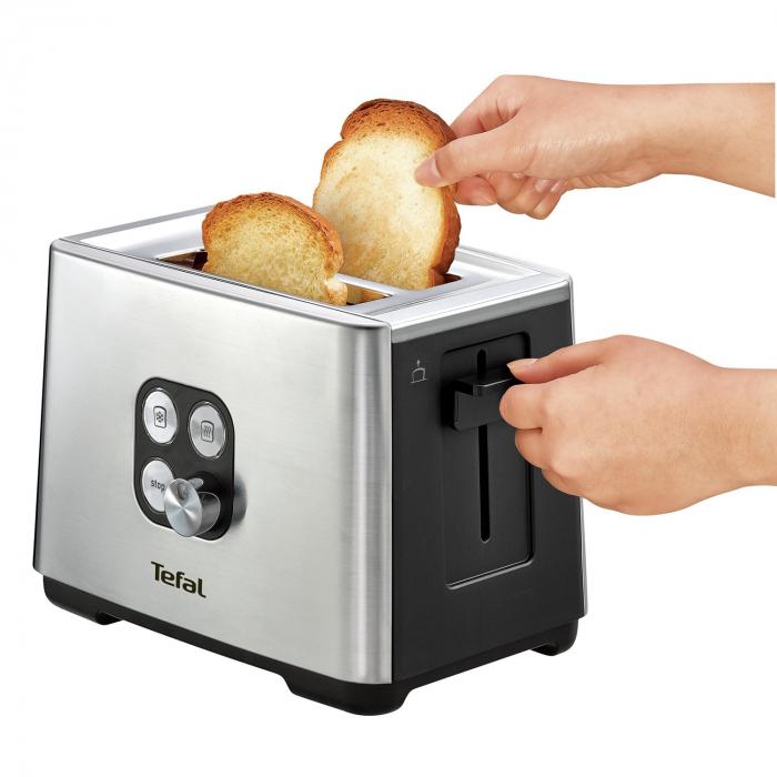 Prajitor de paine Tefal TT420D30, 900W, Functie de dezghetare si reincalzire, 7 niveluri, Inox/Negru [2]