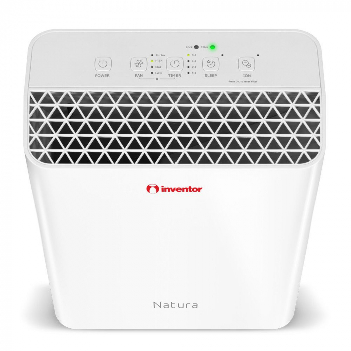 Purificator de aer Inventor Natura, filtru Ionizator HEPA Carbune activ, suprafata acoperita 20 mp, timer, Sleep, alb 3