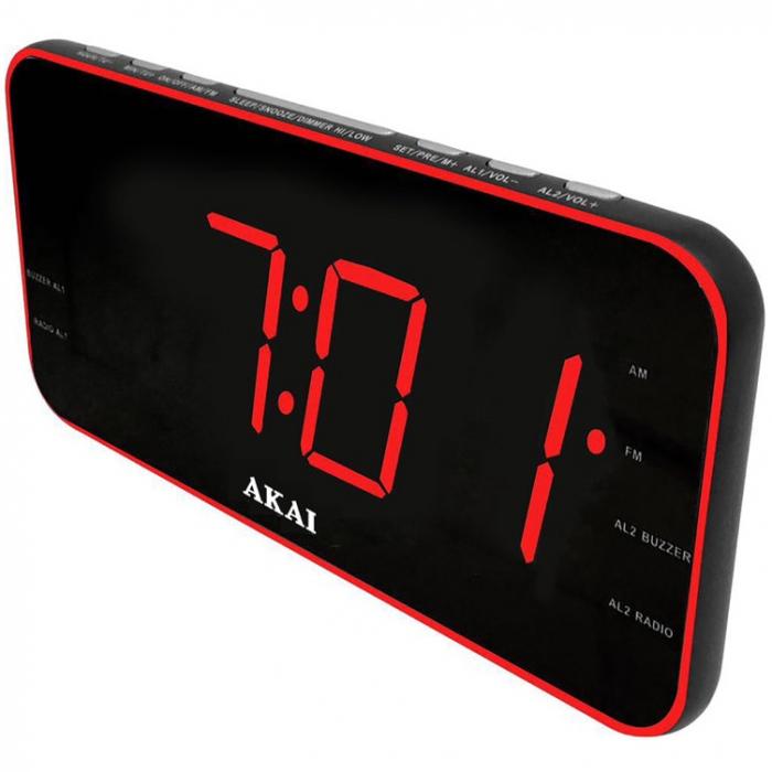Radio cu ceas Akai, ACR-3899, Aux-In, USB, 1A Charger, Negru 0