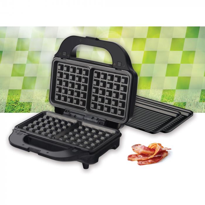 Sandwich maker Heinner SM-2H900BKS, 900 W, placi XL, 2 placi detasabile antiadezive: waffle, grill, Negru/Rosu 3