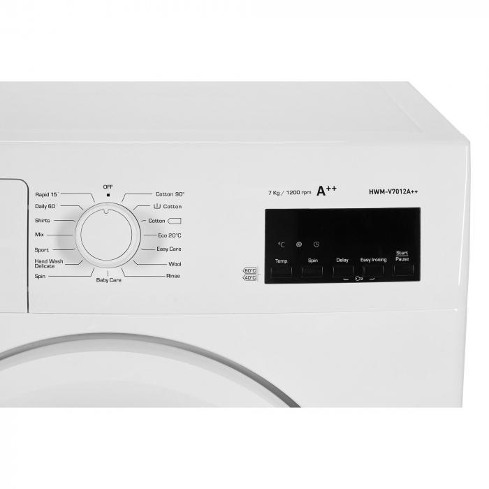 Masina de spalat rufe Heinner HWM–V7012A++, 7KG, 1200 RPM, Clasa A++, Ecran digital, Functie start intarziat, Sistem Eco Logic, Program Allergy Safe, 60 cm, Alb [7]