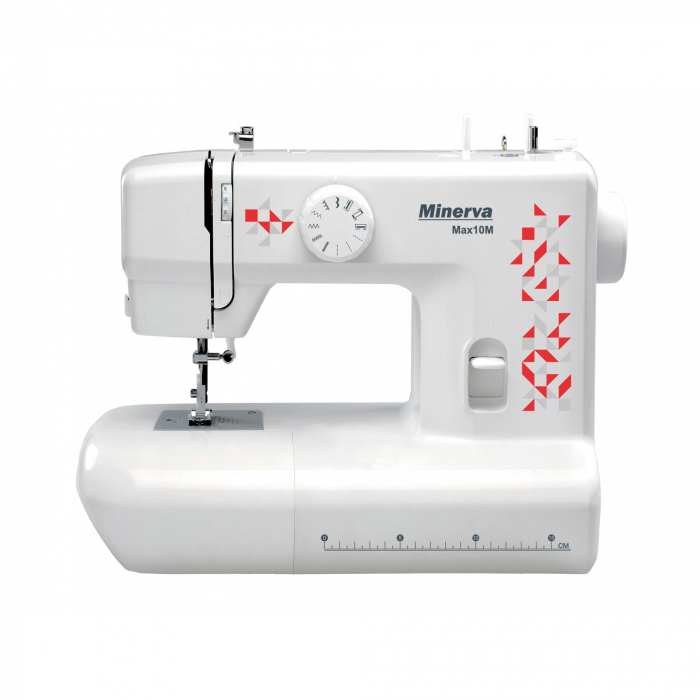 Masina de cusut Minerva Max10M, 10 programe, 800 imp/min, Alb/Rosu 0