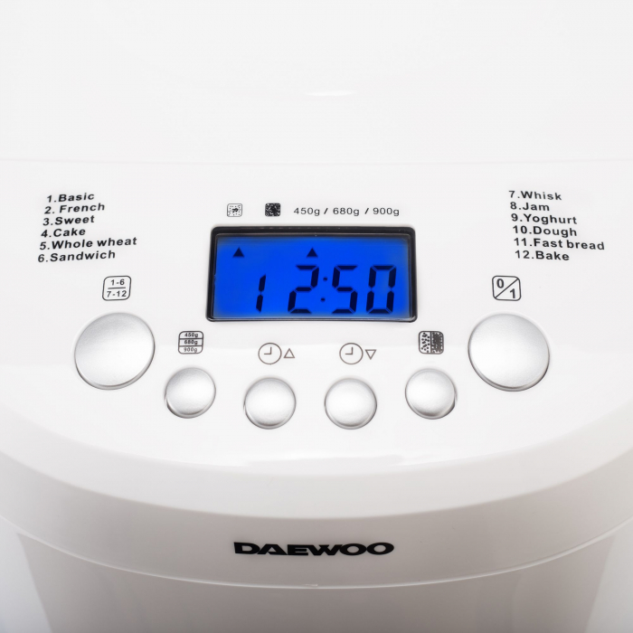 Masina de paine Daewoo DBM600W, 600 W, 900 g, 2 nivele de rumenire, 12 programe, Timer, Alb 1