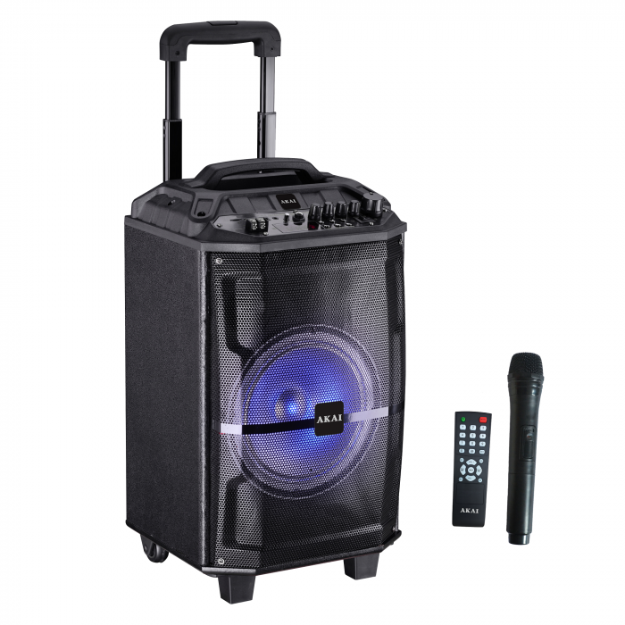 Boxa portabila Akai ABTS-H12L, 40W, microfon wireless, Bluetooth, radio FM, karaoke, USB, lumini disco 1