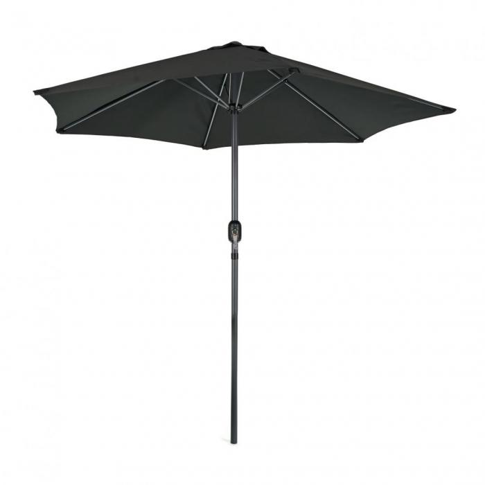 Umbrela soare / gradina, Heinner, LFUD001, rotunda, mecanizm rabatare, 2.4 m, negru 0