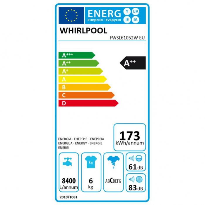 Masina de spalat rufe Slim Whirlpool FreshCare+ FWSL61052W EU, 6 kg, 1000 rpm, Clasa A++, Alb 6