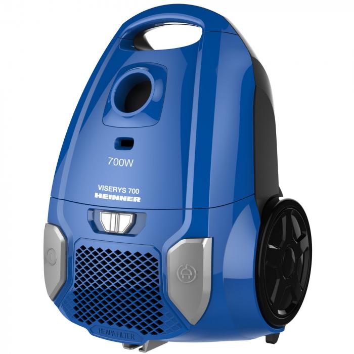 Aspirator cu sac Heinner HVC-MBL1400-V2, 700 W, sac textil, 3 L, putere variabila, HEPA 12, tub telescopic metalic, Albastru 1