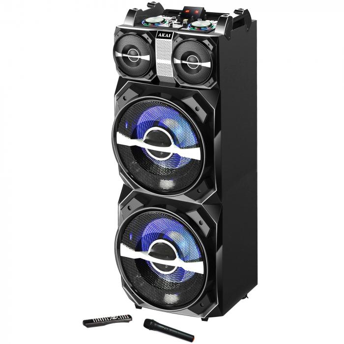 Boxa activa fixa AKAI DJ-T5, dual USB, card SD, Bluetooth, microfon wireless si telecomanda, 300W 0