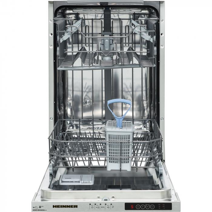 Masina de spalat vase incorporabila Heinner HDW-BI4505A++, 10 seturi, 5 programe, Clasa A++, Control electronic, Display LED, Aquastop, 45 cm 1