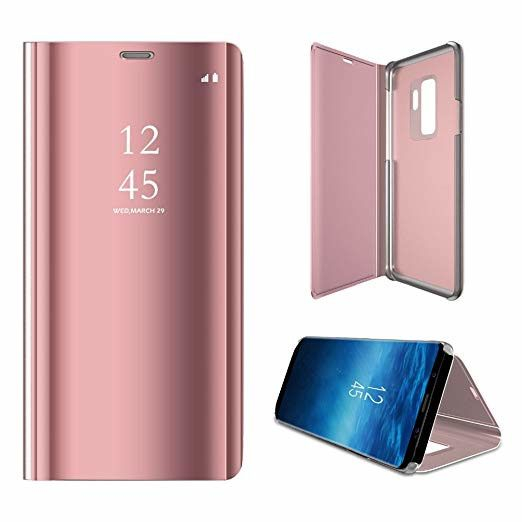 Husa Protectie Pentru Samsung Galaxy S9. Clear View Standing. Rose Gold 0