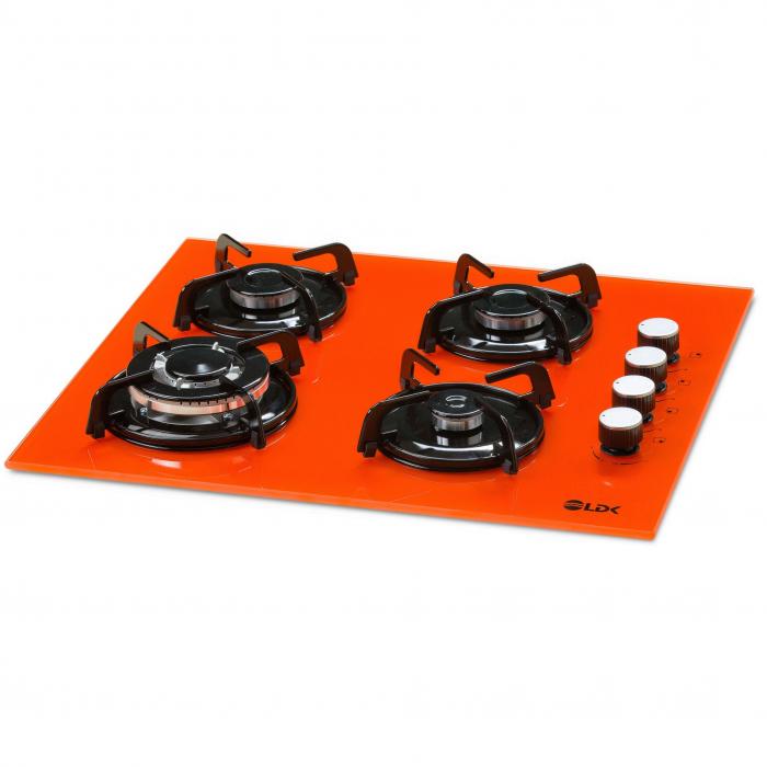 Plita incorporabila LDK YD640VE40T, 4 Arzatoare, 1 Arzator WOK, Aprindere electrica, Siguranta, 3 Ani garantie, 60 cm, Portocaliu 1