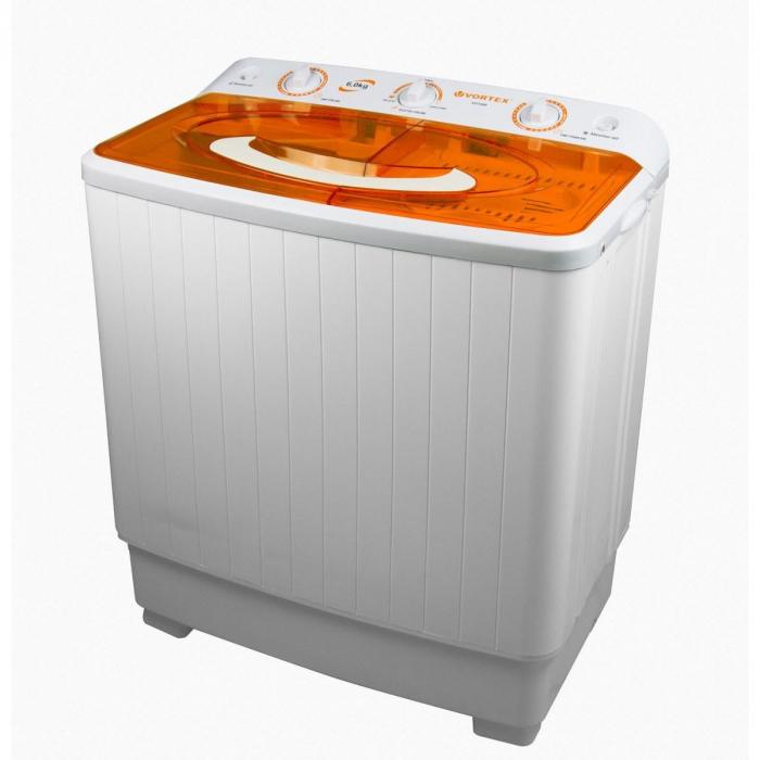Masina de spalat rufe semiautomata Vortex VO1500, Spalare 6 kg, Stoarcere 5 kg, Alb/Portocaliu 1