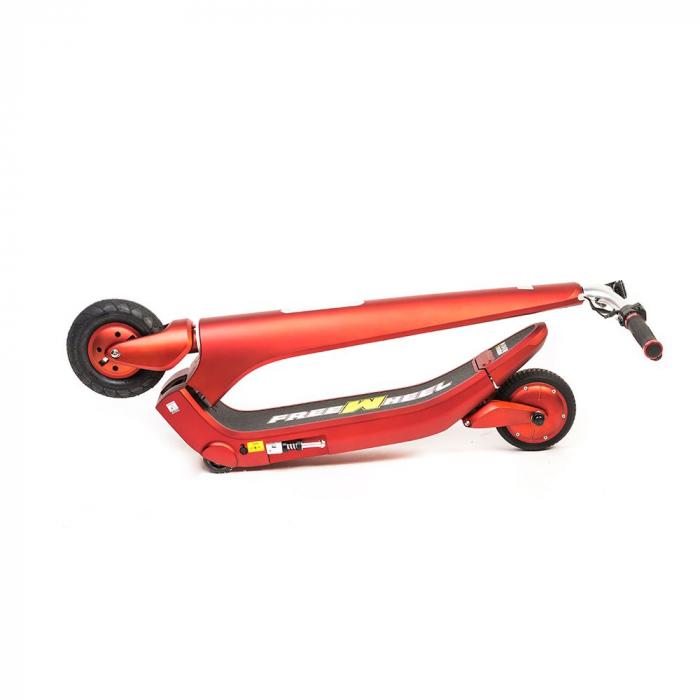Trotineta electrica Freewheel Rider Trends Rosu, Roata fata 8 inch, Autonomie 30KM, Baterie LG, Viteza 25 KM/h, Motor 250W Brushless, Conctare Bluetooth, Difuzor 3W, Afisaj Electronic, Greutate maxima 3