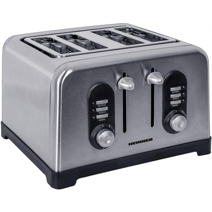 Prajitor de paine Heinner HTP-BK1400XMC, 1400W, 4 felii, 6 nivele de rumenire, Inox 0