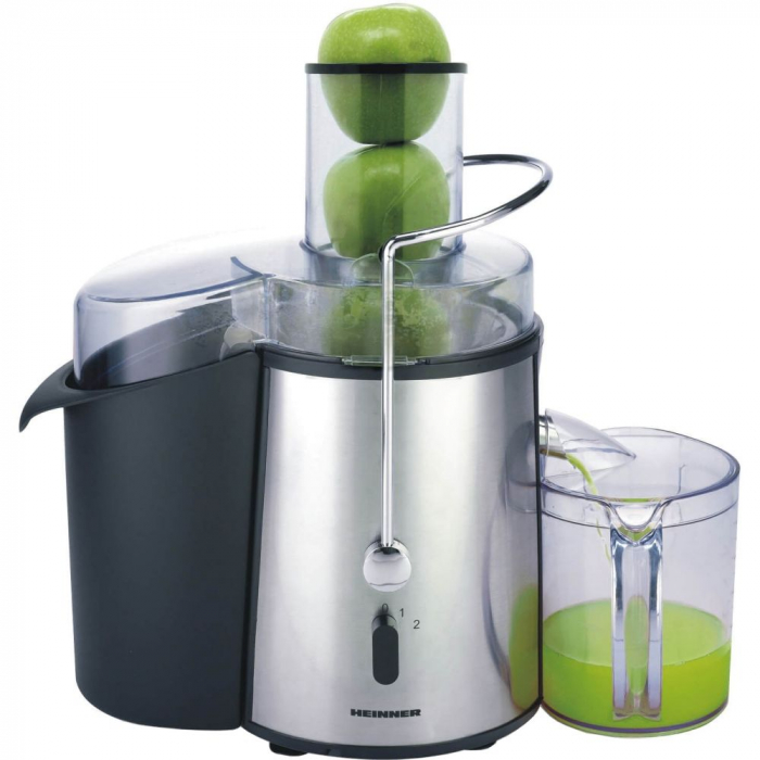 Storcator de fructe si legume Heinner XF-1000SS, 1000 W, Recipient suc 1 l, Recipient pulpa 2 l, 2 Viteze, Tub de alimentare 75 mm, Inox 0