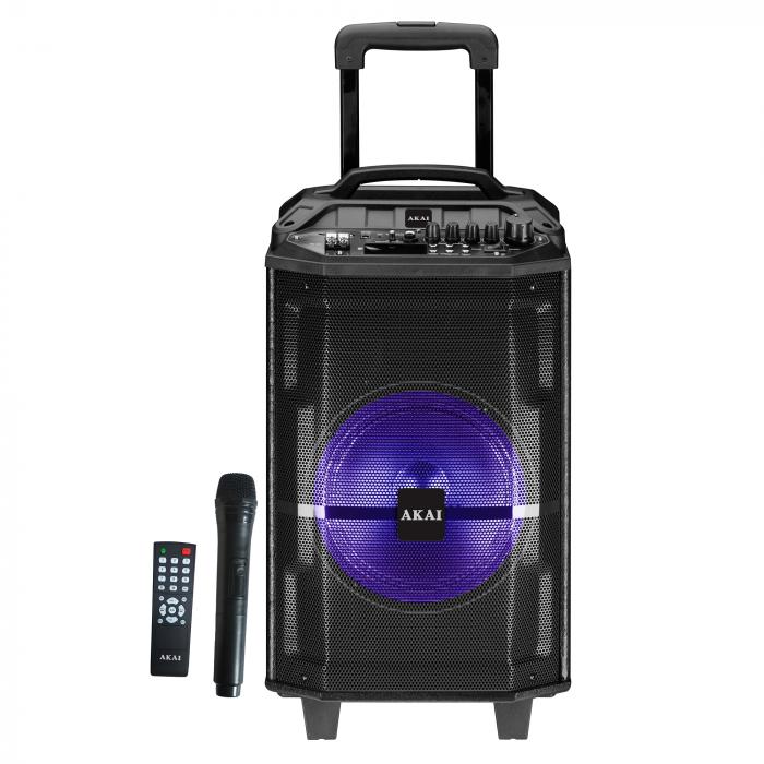 Boxa portabila Akai ABTS-H12L, 40W, microfon wireless, Bluetooth, radio FM, karaoke, USB, lumini disco 0