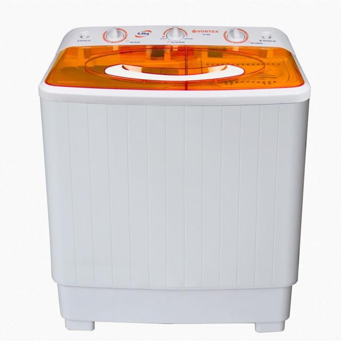 Masina de spalat rufe semiautomata Vortex VO1500, Spalare 6 kg, Stoarcere 5 kg, Alb/Portocaliu 0